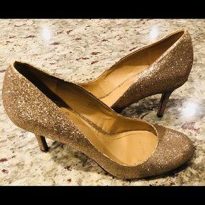 Vince Camuto gold glitter heels